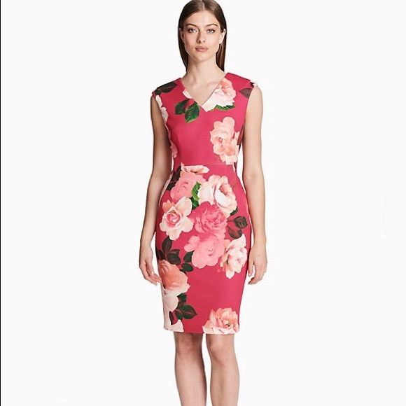 1727086b5d3d Calvin Klein Dresses | New Floral V Neck Sheath Dress 8 | Poshmark